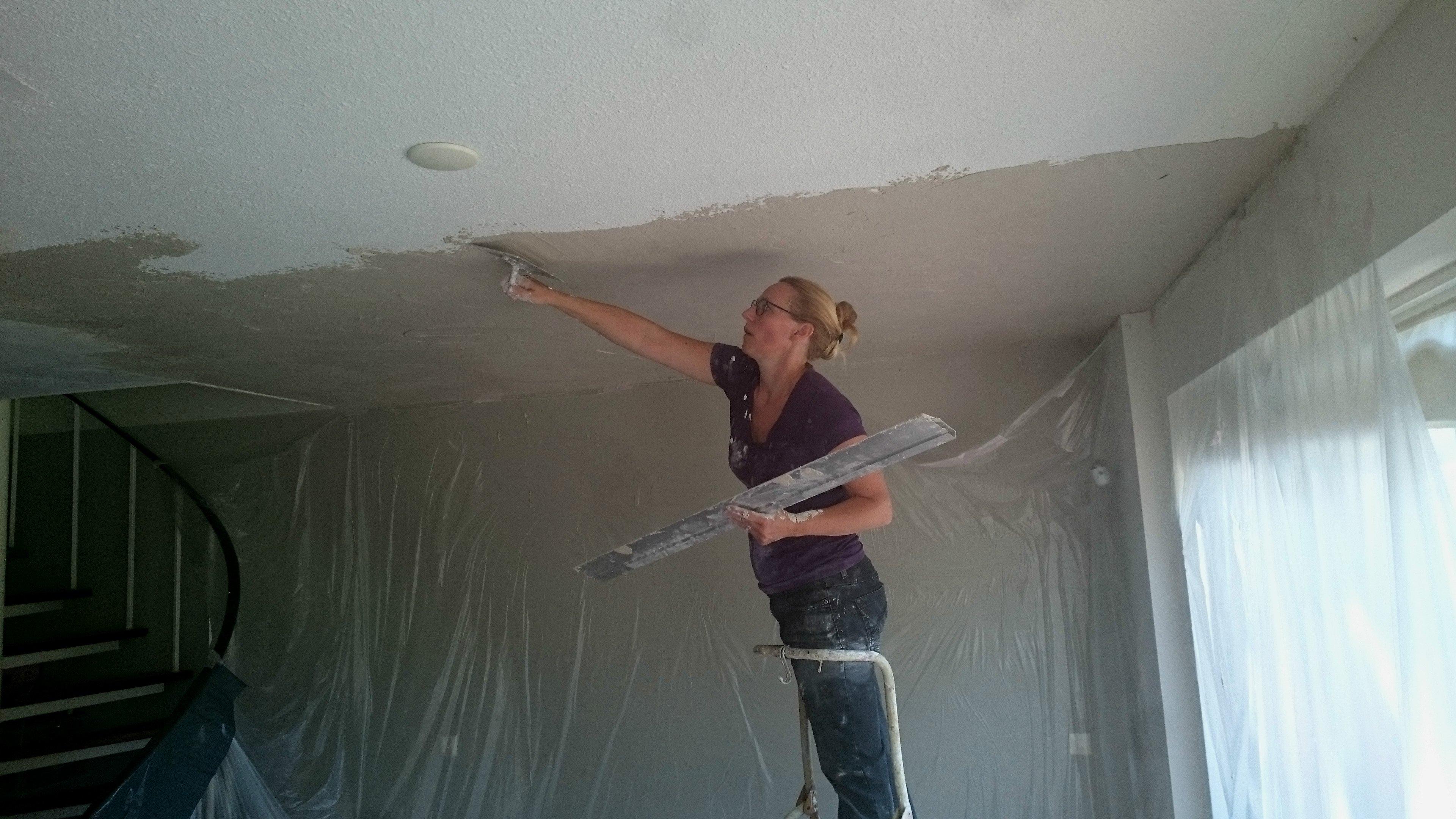 Plafond Woonkamer En Keuken Stucen Nicole Prins